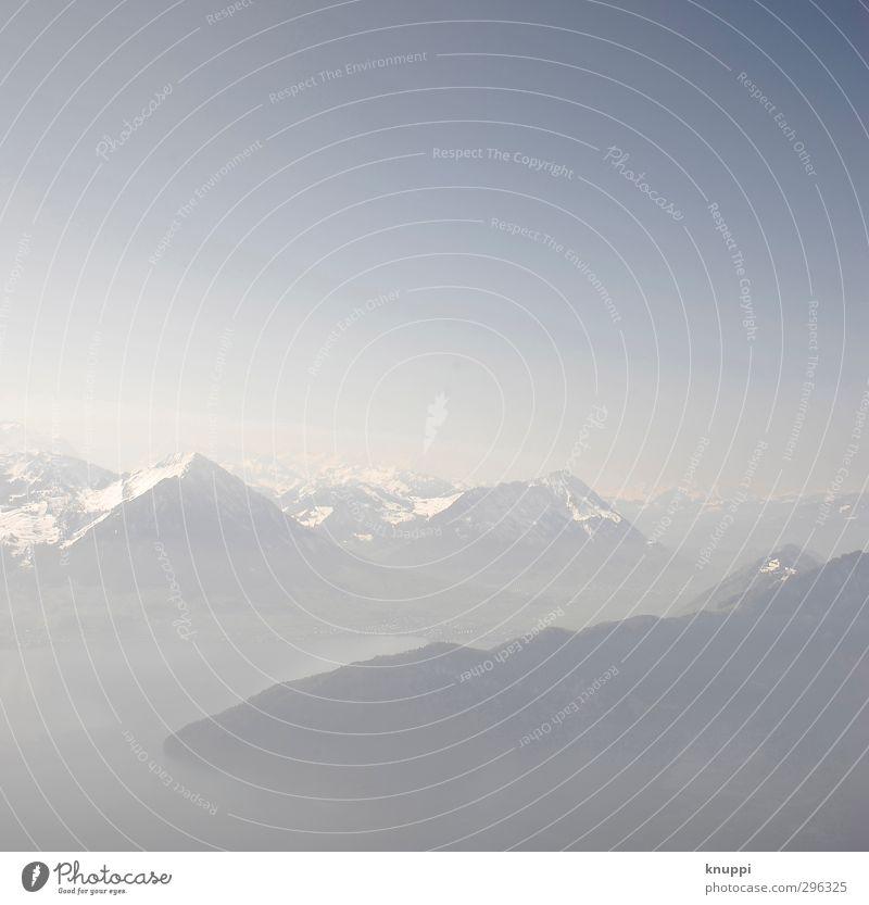 Silence Umwelt Natur Landschaft Luft Himmel Wolkenloser Himmel Horizont Sonne Frühling Schönes Wetter Nebel Hügel Felsen Alpen Berge u. Gebirge Gipfel