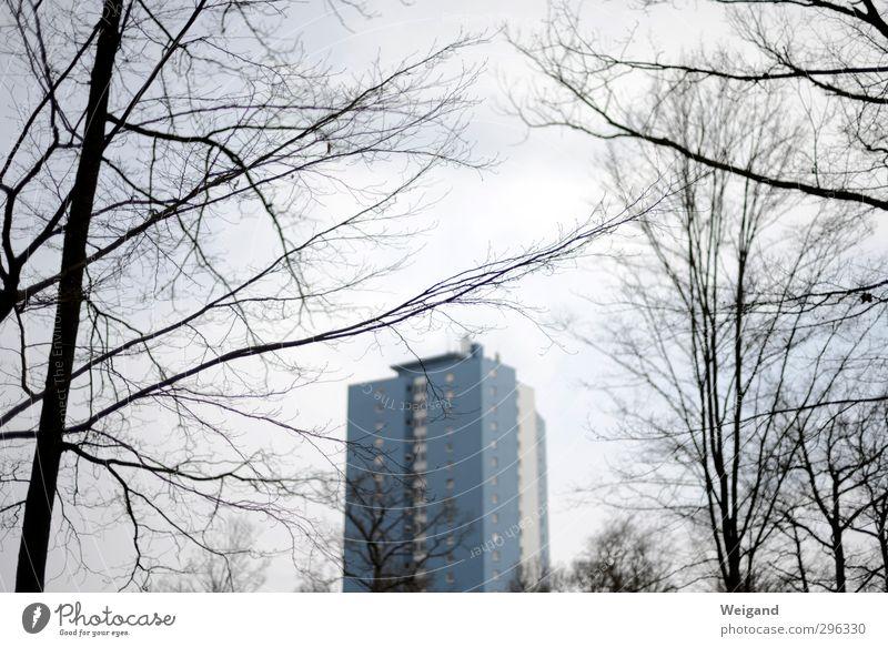 Der blaue Klaus aus Schweinfurt Haus Frühling Winter Stadt Stadtrand Hochhaus weinen grau Farbfoto Außenaufnahme Dämmerung Schwache Tiefenschärfe