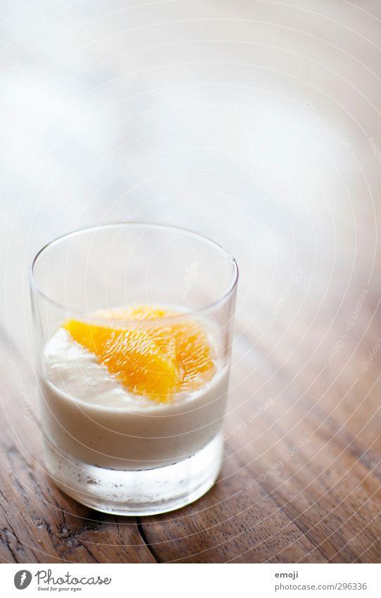 Nachtisch Orange Glas Ernährung süß lecker Süßwaren Dessert Sahne Mousse