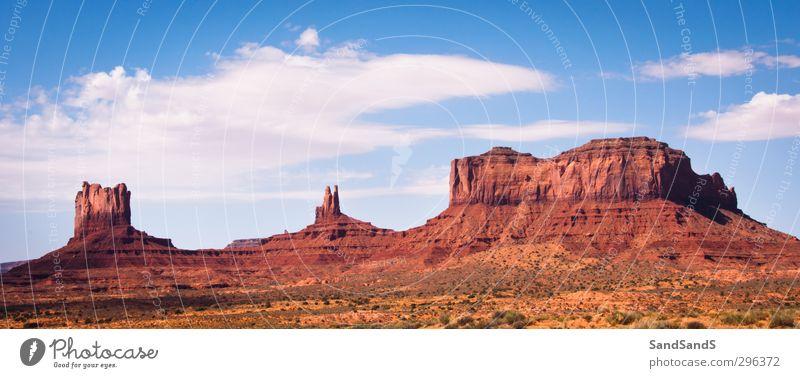 Monument Valley schön Ferien & Urlaub & Reisen Tourismus Berge u. Gebirge Natur Landschaft Sand Himmel Wolken Horizont Park Felsen Schlucht Denkmal Stein wild