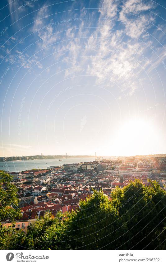 Lisbon Sunset Umwelt Landschaft Horizont Sonne Sonnenaufgang Sonnenuntergang Sonnenlicht Schönes Wetter Lissabon Portugal Stadt Hauptstadt Stadtzentrum Skyline