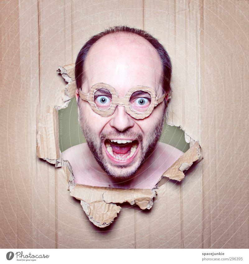 Mit dem Kopf durch die Wand Mensch Mann Jugendliche Erwachsene gelb Junger Mann lustig braun außergewöhnlich maskulin verrückt bedrohlich Brille gruselig