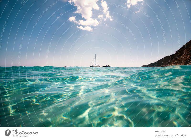 hinterm Horizont geht's weiter Himmel Natur Ferien & Urlaub & Reisen Wasser Sommer Sonne Meer Landschaft Erholung Ferne Freiheit Horizont Wellen Schönes Wetter Tourismus Perspektive