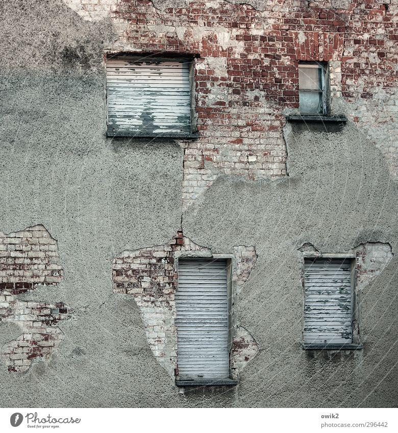 Drei schlafen noch alt Haus Fenster Wand Mauer Fassade dreckig Häusliches Leben kaputt historisch verfallen Backstein schäbig trashig abblättern Altbau