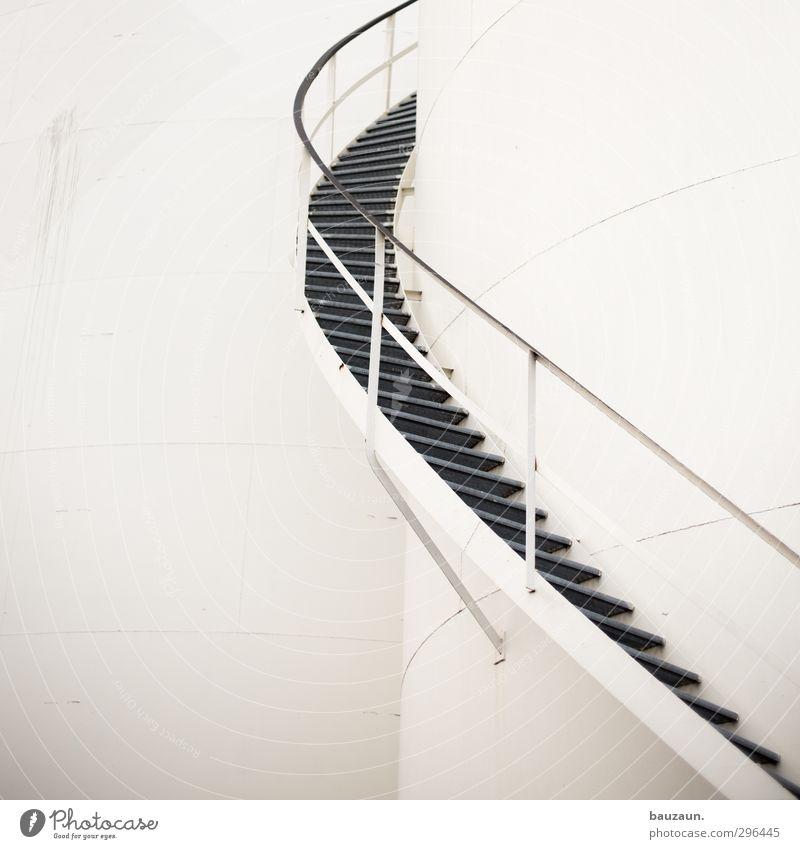 aufwärts. weiß Bewegung grau gehen Linie Metall Arbeit & Erwerbstätigkeit Fassade Treppe Energiewirtschaft Erfolg Beginn Technik & Technologie Industrie rund