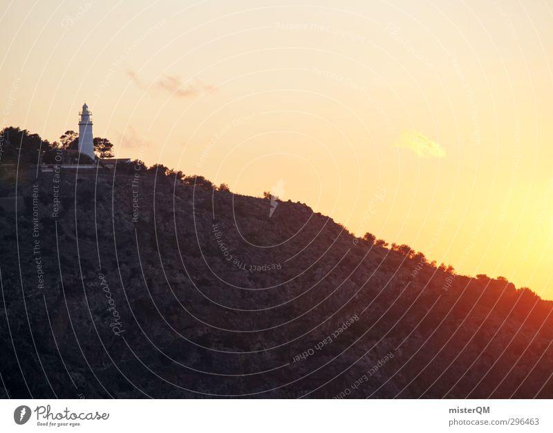 Sonnenküste. Ferien & Urlaub & Reisen Himmel (Jenseits) rot Einsamkeit Landschaft Küste Felsen Kunst Zufriedenheit leuchten ästhetisch Turm Romantik