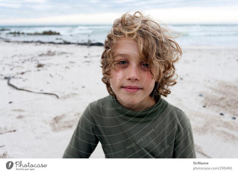 225 [Freie Tage am Meer] Wohlgefühl Schwimmen & Baden Ferien & Urlaub & Reisen Sommerurlaub Strand Kind Junge Kindheit Leben 1 Mensch 8-13 Jahre Natur Sand