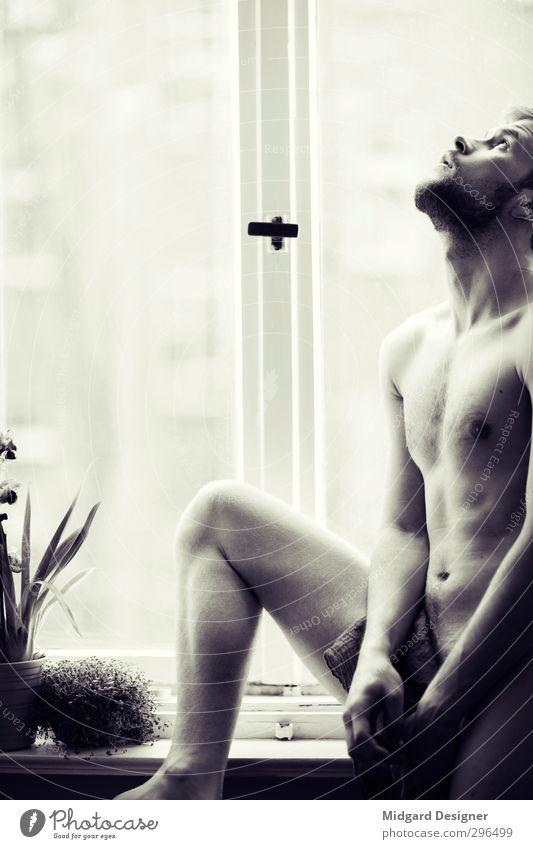 Am Fenster I nackt Erotik Gefühle Autofenster Denken Körper Haut Wohnung Sex ästhetisch Bart heiß Glaube dünn sportlich Sorge