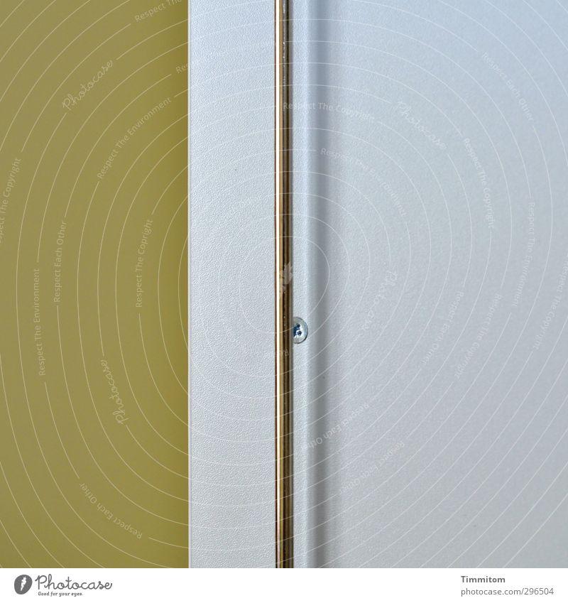 Schranktür, Teilansicht. grün Innenarchitektur grau Metall Büro ästhetisch einfach Sauberkeit Kunststoff silber Schraube Schrank Stab Sachlichkeit Schranktüren