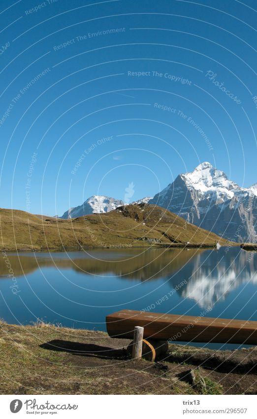 idyllisch Ausflug Berge u. Gebirge Natur Landschaft Wasser Himmel Wolkenloser Himmel Herbst Schönes Wetter Gras Hügel Alpen Gipfel Seeufer Bachalpsee blau grün