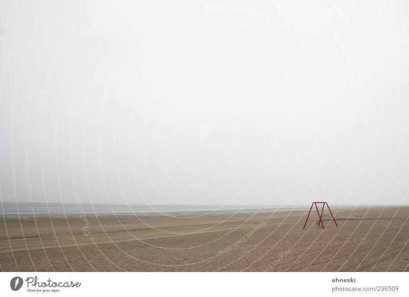 Lost Einsamkeit Strand Ferne Küste Sand Angst Nordsee Schaukel schlechtes Wetter Unlust Langeoog