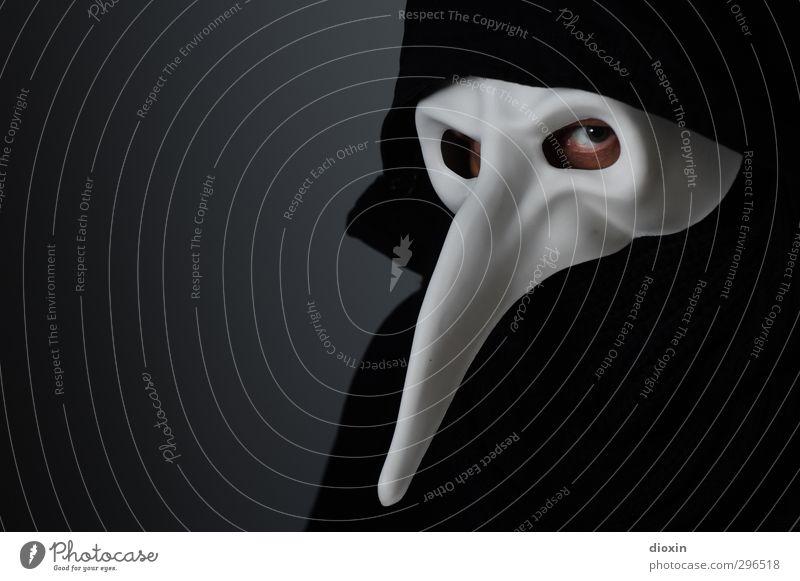 Der Narr *700* Mensch Mann Erwachsene dunkel Auge Angst maskulin 45-60 Jahre bedrohlich beobachten Maske gruselig Karneval Theaterschauspiel bizarr Kapuze
