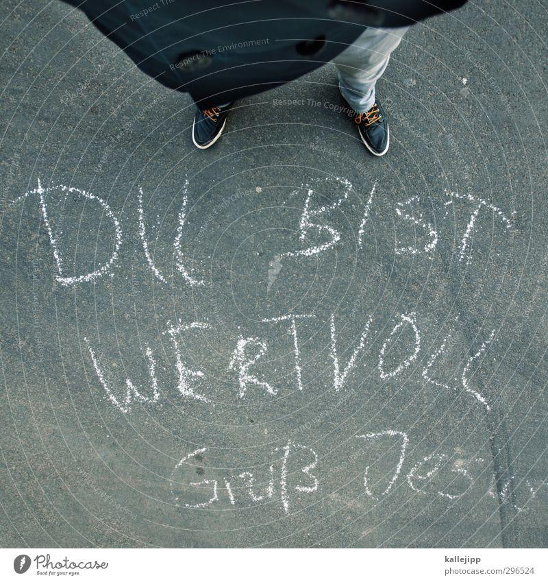 grüß gott! Mensch maskulin Beine Fuß 1 Schuhe Turnschuh Schriftzeichen Graffiti stehen Gott Religion & Glaube Jesus Christus Kostbarkeit Redewendung Bibel