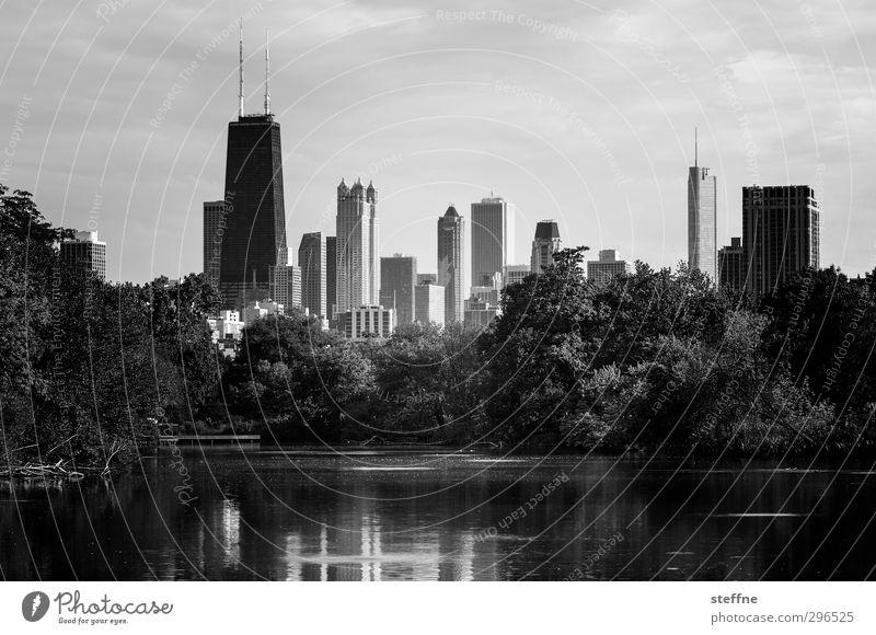 Naherholung Baum Park Teich Chicago USA Stadt Skyline Hochhaus ruhig Eile Oase Schwarzweißfoto