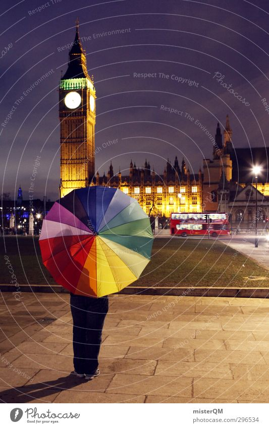 Colour Lovers LND. Lifestyle Kunst ästhetisch Design gestalten Kreativität Idee Schirm Regenschirm regenbogenfarben London London-Marathon Big Ben Bus Kitsch