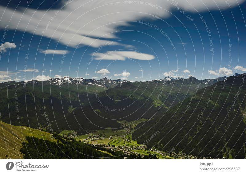 Davos Umwelt Natur Landschaft Himmel Wolken Horizont Sonne Sonnenlicht Sommer Schönes Wetter Wind Schnee Wald Hügel Felsen Alpen Berge u. Gebirge Gipfel