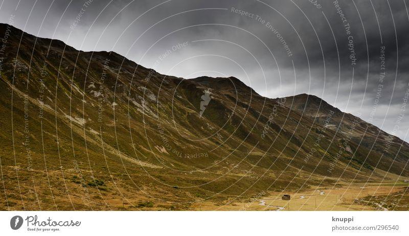 Davos II Umwelt Natur Landschaft Himmel Wolken Gewitterwolken Sonnenlicht Sommer Wetter schlechtes Wetter Wind Regen Hügel Felsen Alpen Berge u. Gebirge Gipfel