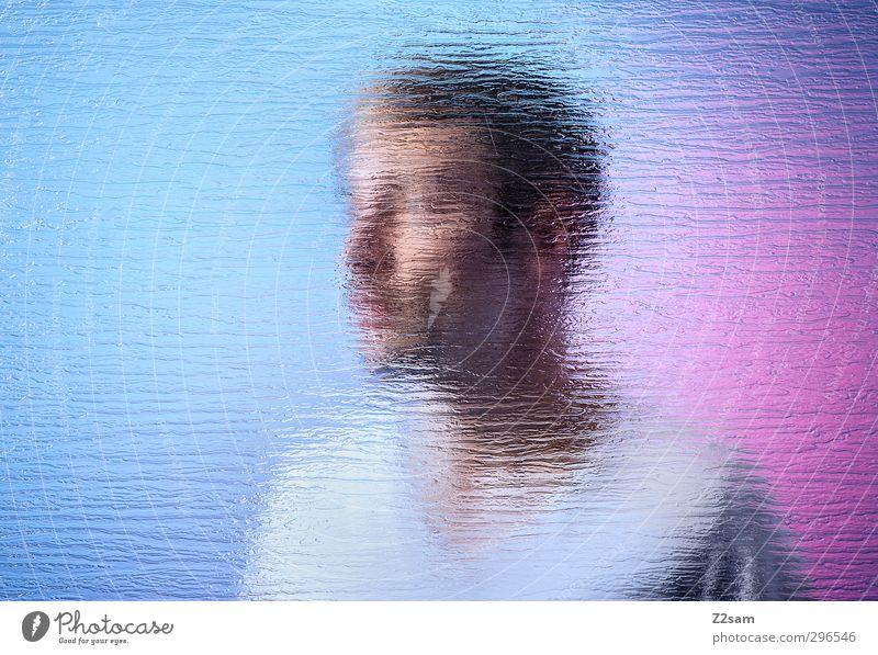 underwater Stil maskulin Junger Mann Jugendliche 18-30 Jahre Erwachsene T-Shirt Oberlippenbart Spiegel Glas träumen Coolness Flüssigkeit Sauberkeit blau violett
