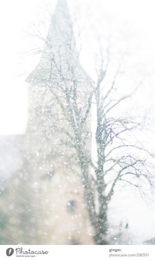 Die Kirche im Dorf lassen Bauwerk Sehenswürdigkeit grau weiß beige Baum Baumkrone Kirchturm Kirchturmspitze diffus Schnee Schneefall bleich Wolkendecke Winter