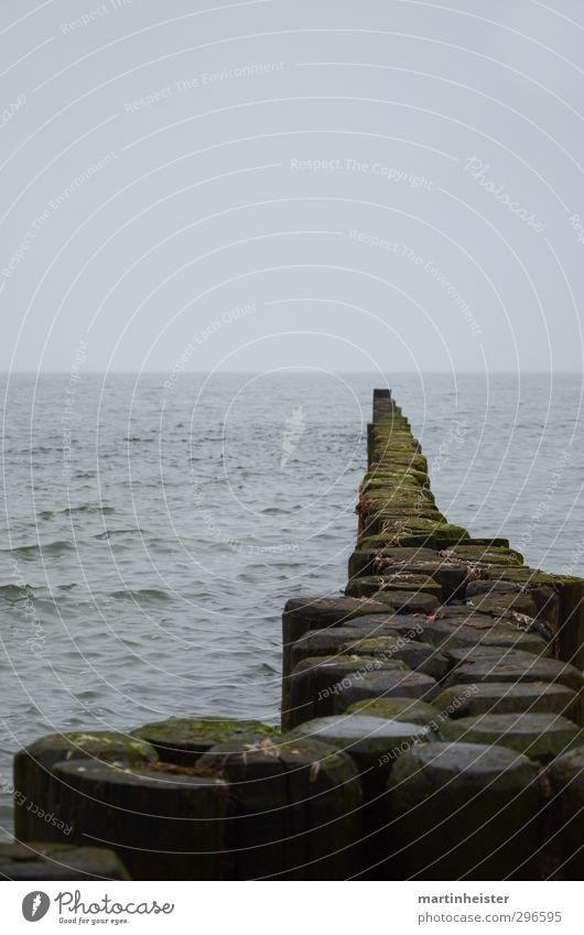 Pflasterpfähle Meer Wellen Natur Wasser Himmel Wolken Horizont Frühling Herbst schlechtes Wetter Küste Bucht Ostsee Holzpfahl Steg atmen Denken genießen Blick