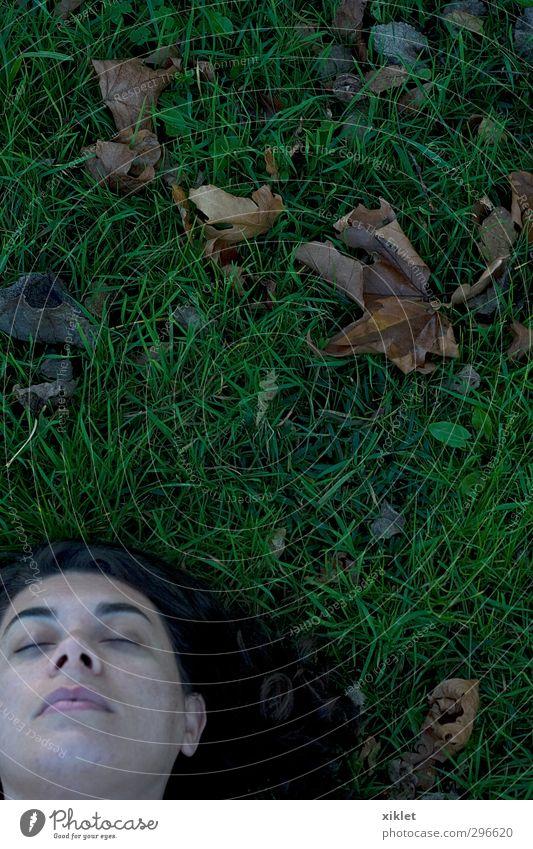 sattes Grün Junge Frau Jugendliche Gesicht 1 Mensch Gras Park Denken fallen liegen schlafen frei Glück gut schön feminin wild grün Freude Lebensfreude