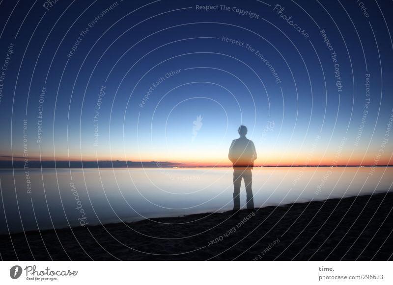Here's to Life Mensch 1 Umwelt Natur Landschaft Wasser Wolkenloser Himmel Horizont Sonnenaufgang Sonnenuntergang Küste Strand Ostsee beobachten genießen stehen