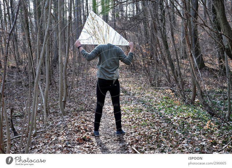 KOPF AB Mensch maskulin Junger Mann Jugendliche Körper Rücken Arme Hand Gesäß Beine 1 18-30 Jahre Erwachsene Umwelt Natur Baum Sträucher Wald leuchten dreckig