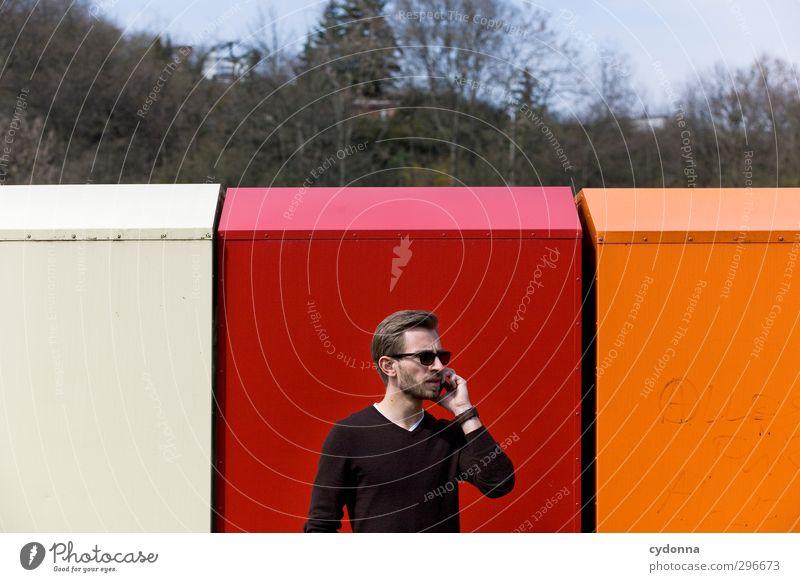 Auf Empfang Mensch Jugendliche Farbe rot Wald Erwachsene Junger Mann Umwelt 18-30 Jahre Wand Leben Mauer Stil Business orange elegant