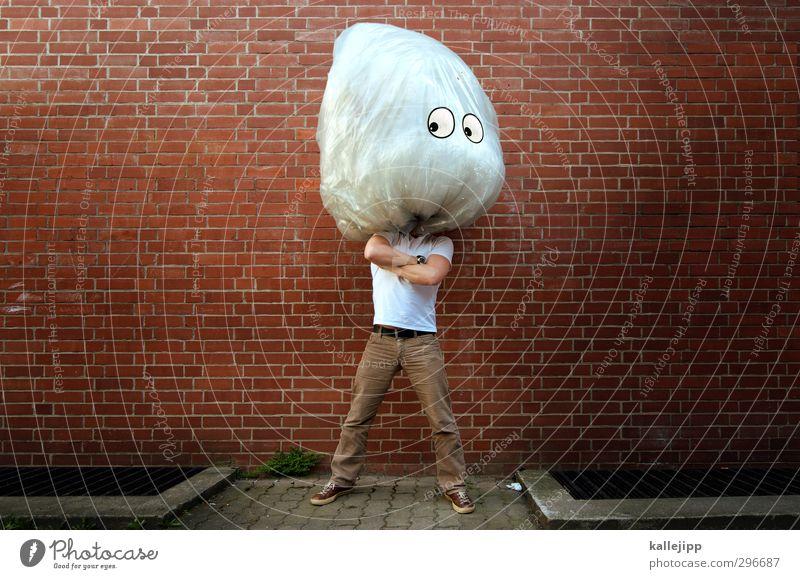 the brain Mauer Wand Denken Gehirn u. Nerven Kopf Comic stehen groß Comicfigur lustig Auge Blick Müll Müllsack Plastiktüte Statue Kunststoff Recycling Verstand