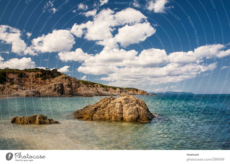 Bucht Himmel Natur Ferien & Urlaub & Reisen Wasser Sommer Meer Landschaft Strand Ferne Wärme Küste Sand Horizont Felsen Insel Schönes Wetter