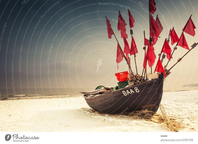 Flaggschiff Himmel Natur Ferien & Urlaub & Reisen alt Meer Einsamkeit Landschaft ruhig Winter Strand Ferne Schnee Freiheit Holz Küste Sand