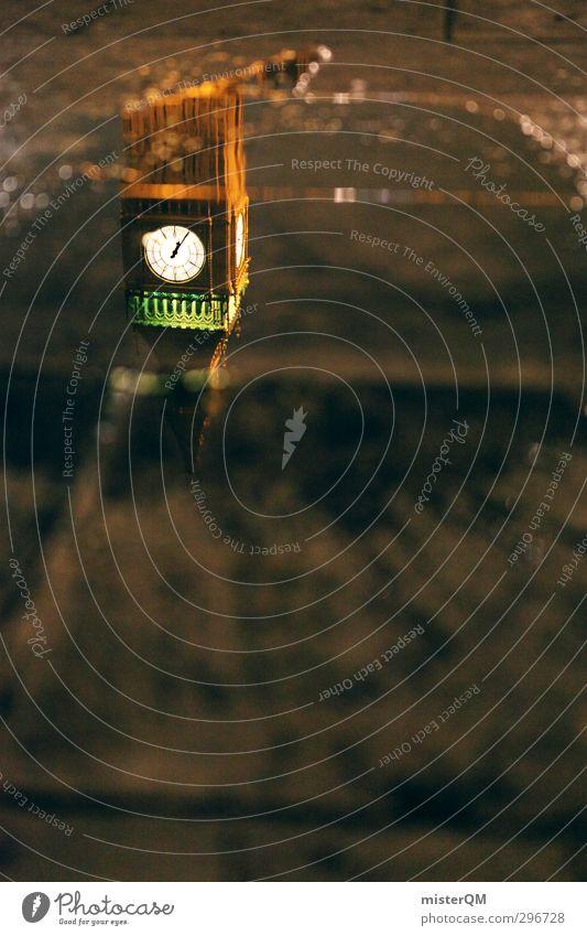London Underground. Stadt Zeit Reisefotografie Kunst Uhr Gold Tourismus Perspektive ästhetisch Turm Wahrzeichen Sehenswürdigkeit Fernweh Pfütze edel