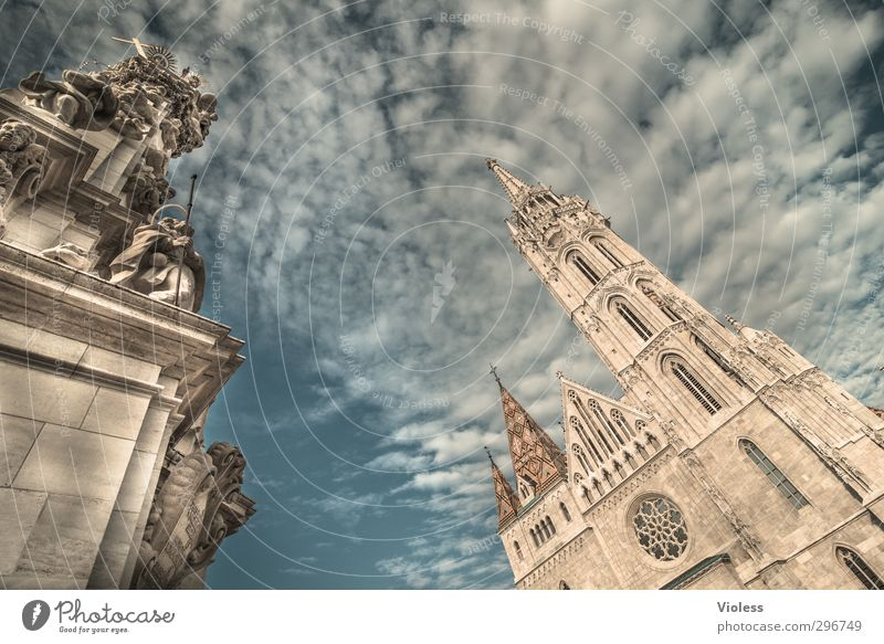 believe Wolken Kirche ästhetisch Glaube Denkmal Wahrzeichen Sehenswürdigkeit Hauptstadt Altstadt Basilika Budapest Ungarn Rechtschaffenheit Matthiaskirche