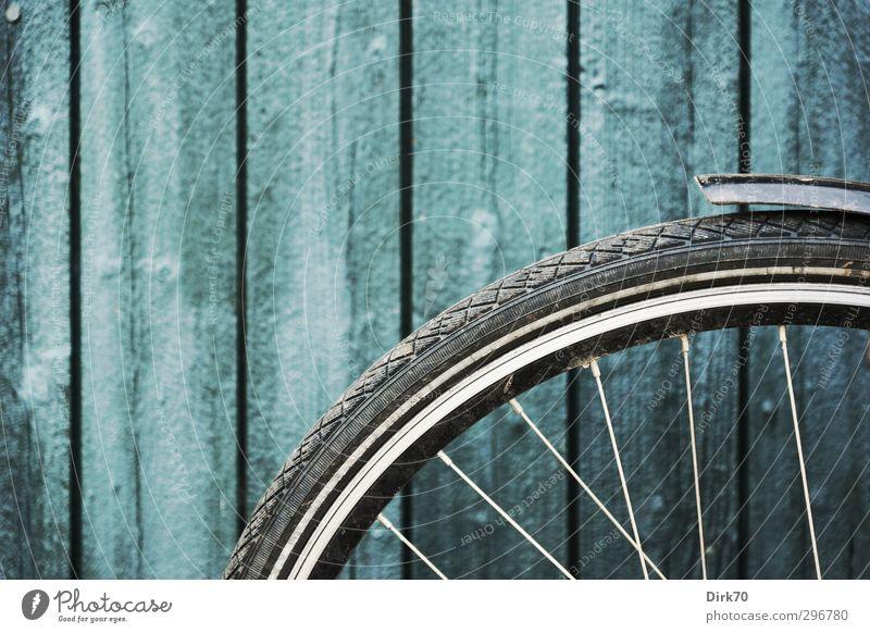 Fahrradvorderrad vor Bretterwand Fahrradfahren Hütte Mauer Wand Tür Lagerschuppen Tor Rad Felge Speichen Schutzblech Holzbrett Stahl kalt rund blau grau schwarz