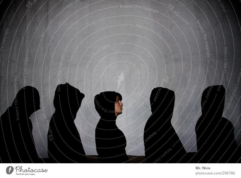 kopflastig | gestalten maskulin feminin Gesicht 5 Mensch Menschengruppe Mütze Coolness schwarz Kapuzenjacke Schatten Kontrast Silhouette Reihe Gangsta Rap