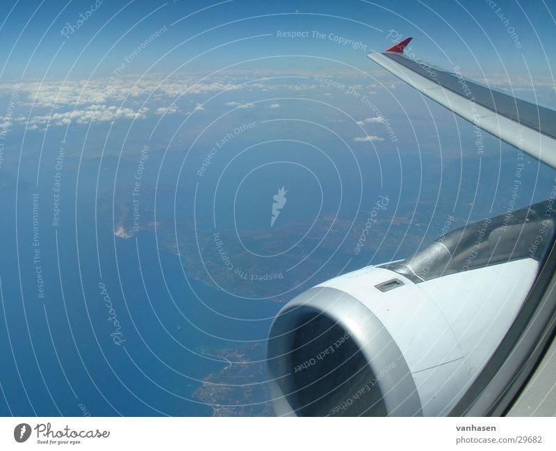 Flugzeug Himmel Meer Luftverkehr Griechenland