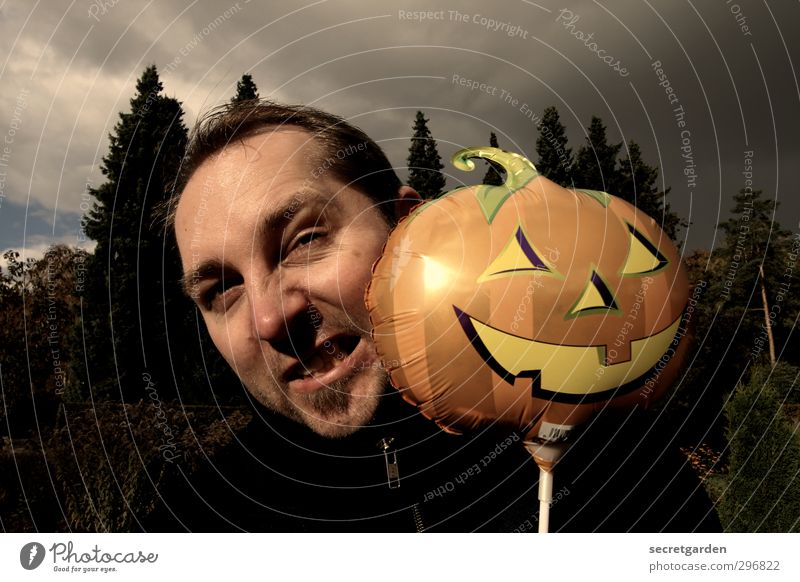 Kopflastig | dr. jekyll & mr. hyde Karneval Halloween Jahrmarkt maskulin Junger Mann Jugendliche 1 Mensch 30-45 Jahre Erwachsene Schauspieler schlechtes Wetter