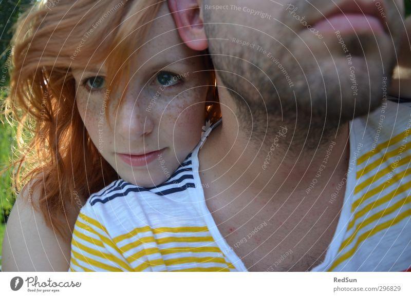 Zeig mir die heiße Schulter Mensch maskulin feminin Junge Frau Jugendliche Paar Partner Kopf Gesicht 2 18-30 Jahre Erwachsene Natur Sommer Schönes Wetter Park