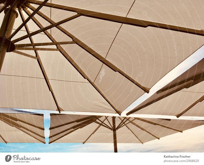Schirmherrschaft Sommer Sommerurlaub Himmel Frühling blau braun weiß Ferien & Urlaub & Reisen Sonnenschirm Wetterschutz Sonnenlicht Reisefotografie Kunst