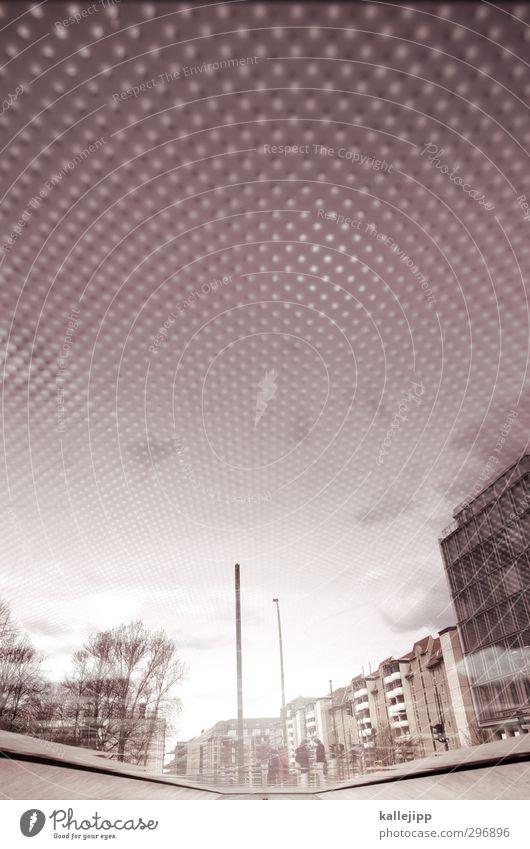 dots Stadt Ferne Raster rasterpunkt Glas Haus verdreht Farbfoto Außenaufnahme Licht Schatten Kontrast Reflexion & Spiegelung Zentralperspektive