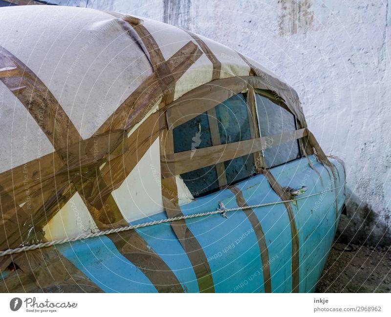 kubanische Schweißnaht Verkehr PKW Oldtimer Autodach Autofenster Klebeband authentisch einfach kaputt blau braun Armut innovativ Kuba Farbfoto Außenaufnahme