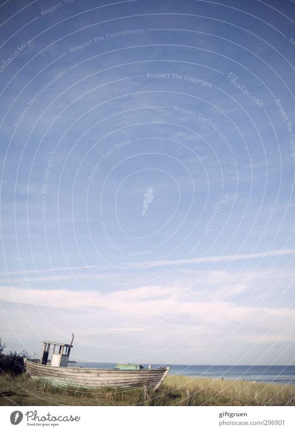 trockendock Umwelt Natur Landschaft Urelemente Wasser Himmel Schönes Wetter Pflanze Gras Grünpflanze Küste Strand Ostsee alt Wasserfahrzeug Fischerboot