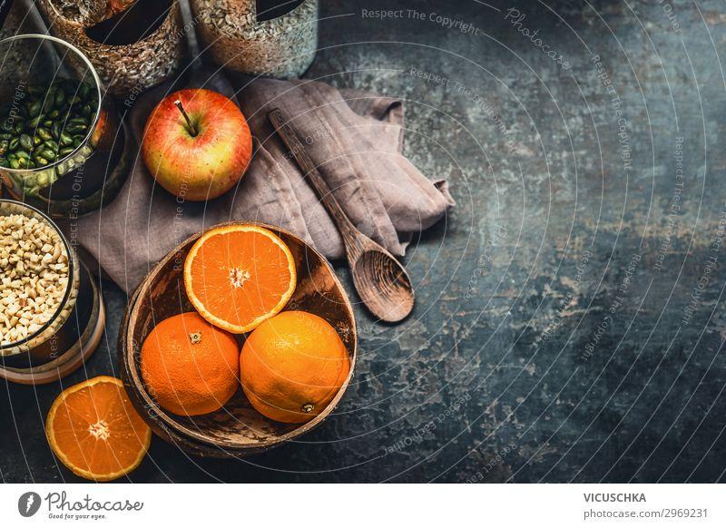Gesunde Frühstück Zutaten Lebensmittel Apfel Orange Getreide Ernährung Geschirr Stil Gesunde Ernährung Häusliches Leben Tisch Fitness Design healthy