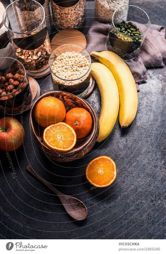 Gesunde Zutaten zum Fitness Frühstück Lebensmittel Frucht Apfel Orange Getreide Ernährung kaufen Stil Design Gesundheit Gesunde Ernährung Sport-Training