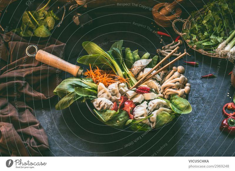 Asiatische Küche. Koreanischer Eintopf Lebensmittel Gemüse Suppe Kräuter & Gewürze Ernährung Mittagessen Bioprodukte Vegetarische Ernährung Diät Slowfood