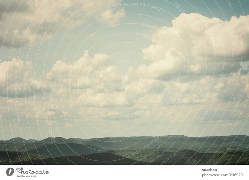 ich schau so weit ich kann ... Himmel Natur Sommer Landschaft Wolken Wald Umwelt Ferne Horizont Luft Wetter Klima Schönes Wetter Urelemente Hügel Unendlichkeit