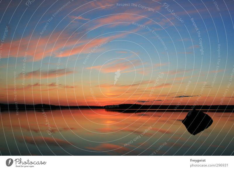 Silence Natur Wasser Himmel Horizont Sonnenaufgang Sonnenuntergang Sommer See ruhig Freiheit mehrfarbig Außenaufnahme Menschenleer Dämmerung