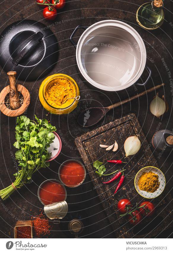 Zutaten für Tomatensuppe Lebensmittel Gemüse Suppe Eintopf Kräuter & Gewürze Ernährung Mittagessen Bioprodukte Vegetarische Ernährung Diät Geschirr