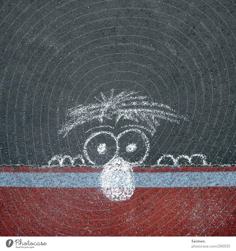 gemalte neugier Auge Wege & Pfade Nase Neugier Asphalt Figur Comic Kreide Straßenkunst Gummi Markierungslinie Comicfigur