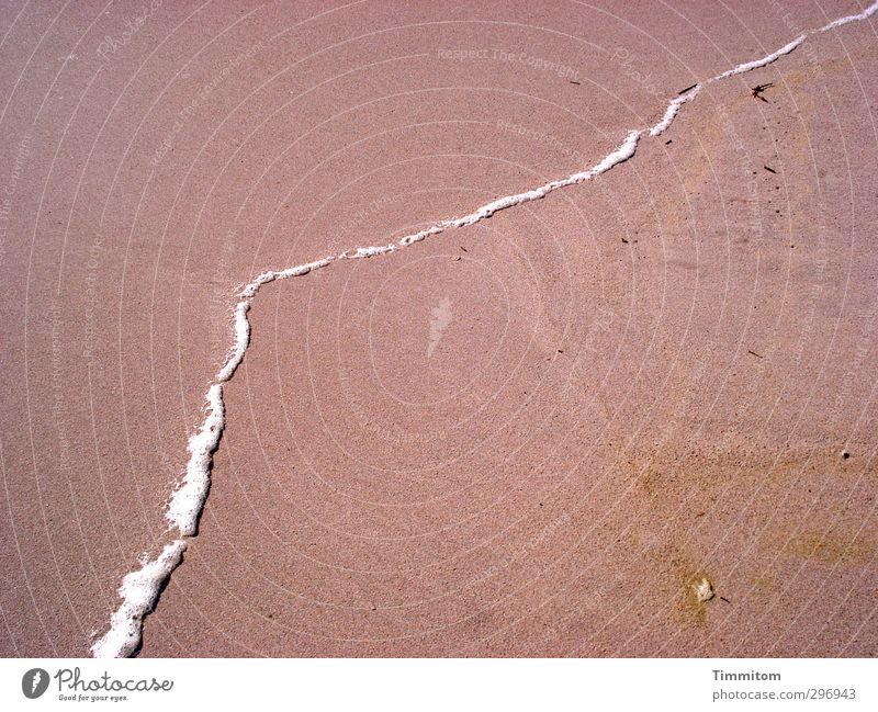 Tell me all the things you do. Natur Ferien & Urlaub & Reisen weiß Sommer Strand Umwelt Gefühle Sand Linie ästhetisch einfach Grenze Schaum Gischt Dänemark